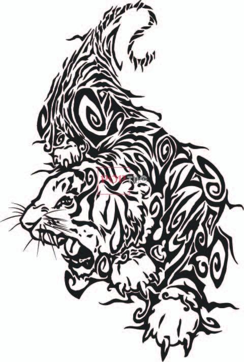 动物老虎印花图案服装裁片T恤卫衣烫图数码印花花型素材-POP花型网