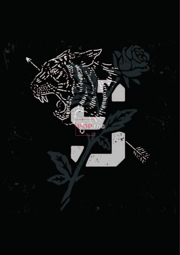 动物老虎玫瑰花印花图案服装裁片T恤卫衣烫图数码印花花型素材-POP花型网