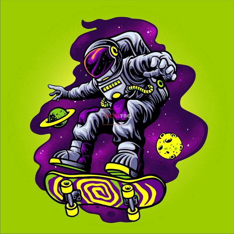卡通太空人滑板印花图案服装裁片T恤卫衣烫图印花花型素材-POP花型网
