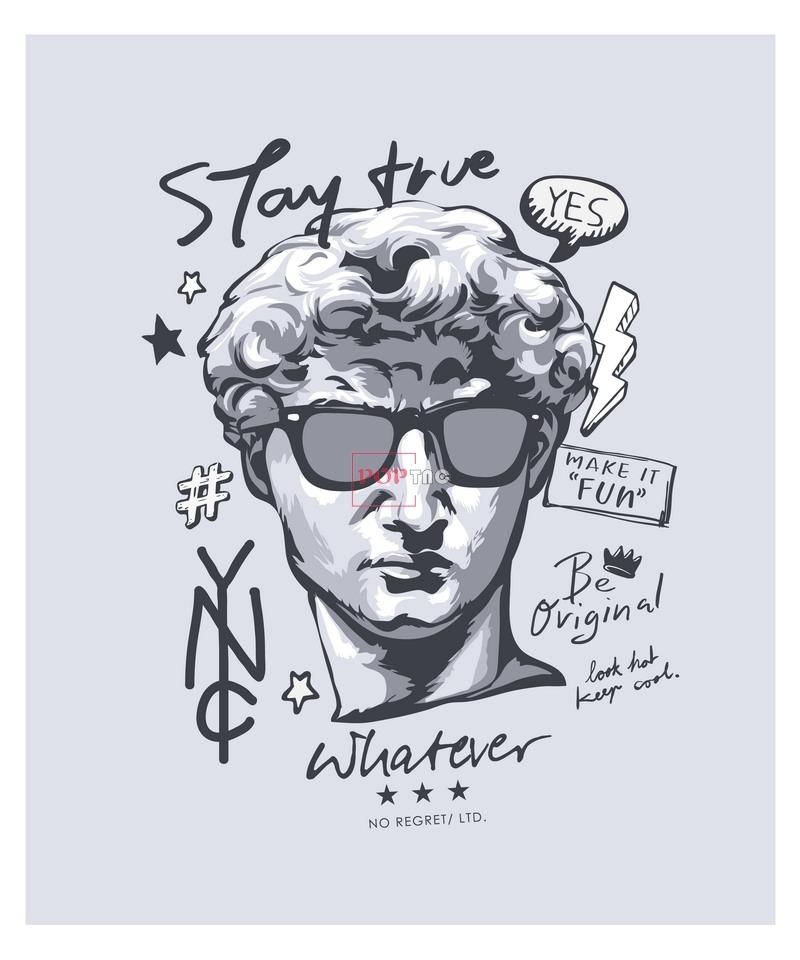 雕塑人物大卫字母印花图案服装裁片T恤卫衣烫图印花花型素材-POP花型网