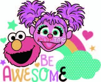 卡通动漫芝麻街云朵彩虹字母印花图案服装裁片T恤卫衣烫图印花花型素材-POP花型网