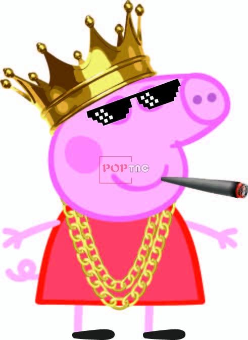 卡通动漫小猪佩奇皇冠印花图案服装裁片T恤卫衣烫图印花花型素材-POP花型网