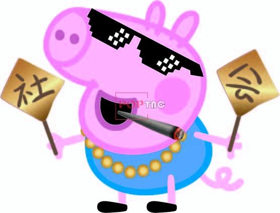 卡通动漫小猪佩奇印花图案服装裁片T恤卫衣烫图印花花型素材-POP花型网