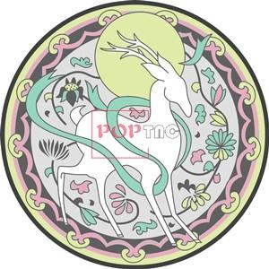 国潮中国风花纹鹿印花图案服装裁片T恤卫衣烫图印花花型素材-POP花型网