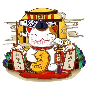 卡通潮牌猫印花图案服装裁片T恤卫衣烫图印花花型素材-POP花型网