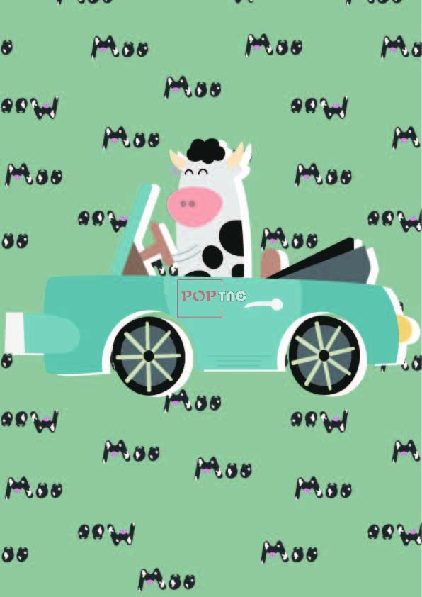卡通动物奶牛汽车字母印花图案服装纺织数码印花花型素材-POP花型网