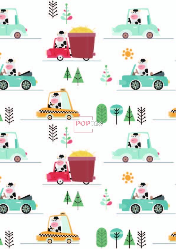 卡通奶牛汽车印花图案服装纺织数码印花花型素材-POP花型网