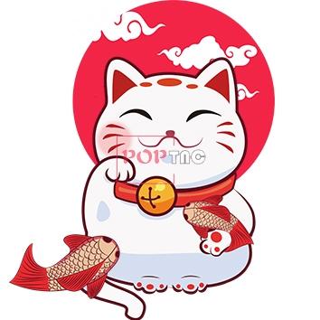 卡通招财猫锦鲤印花图案服装裁片T恤卫衣烫图印花花型素材-POP花型网