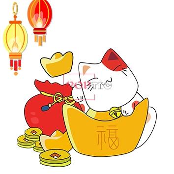 卡通招财猫印花图案服装裁片T恤卫衣烫图印花花型素材-POP花型网