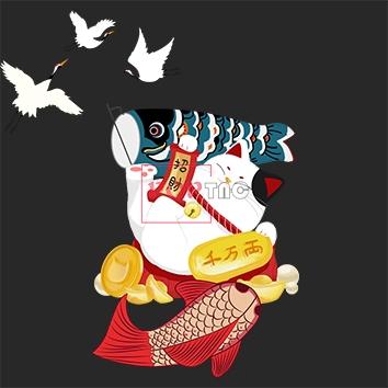 卡通招财猫仙鹤印花图案服装裁片T恤卫衣烫图印花花型素材-POP花型网