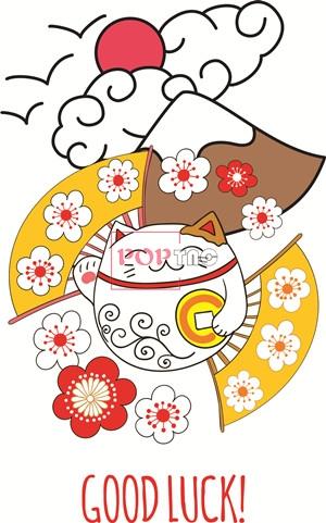日式风卡通招财猫字母印花图案服装裁片T恤卫衣烫图印花花型素材-POP花型网