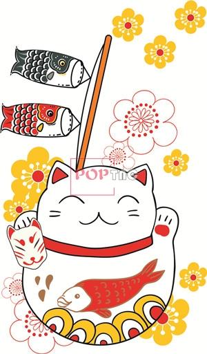 日式风卡通招财猫印花图案服装裁片T恤卫衣烫图印花花型素材-POP花型网
