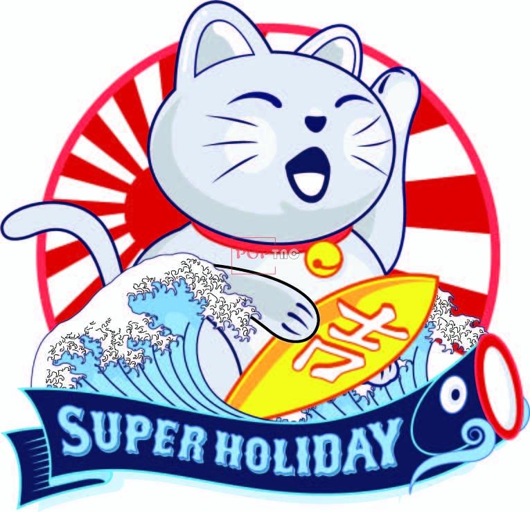 日式风卡通招财猫海浪印花图案服装裁片T恤卫衣烫图印花花型素材-POP花型网