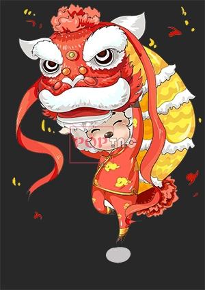 卡通图案国潮风舞狮字母印花图案服装裁片T恤卫衣烫图印花花型素材-POP花型网