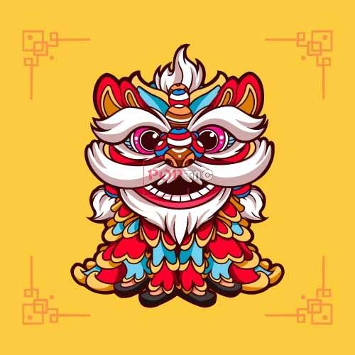 卡通图案国潮风舞狮印花图案服装裁片T恤卫衣烫图印花花型素材-POP花型网