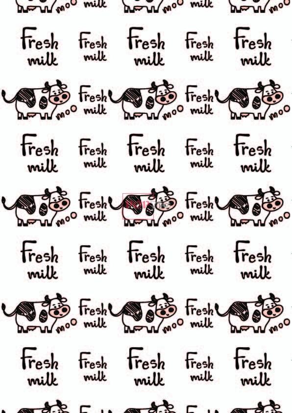 卡通动物奶牛字母印花图案服装纺织数码印花花型素材-POP花型网