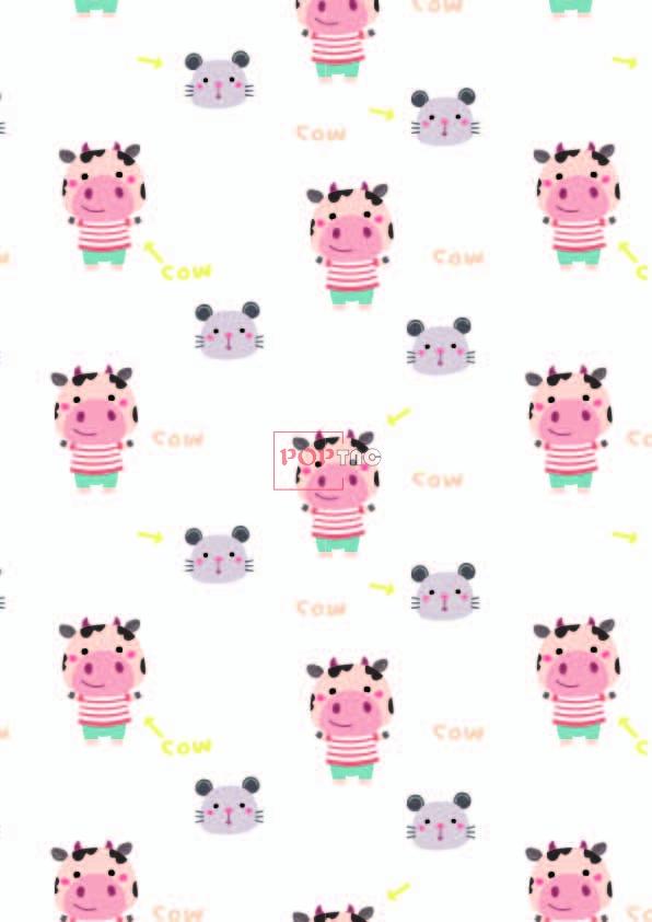 卡通动物奶牛老鼠印花图案服装纺织数码印花花型素材-POP花型网