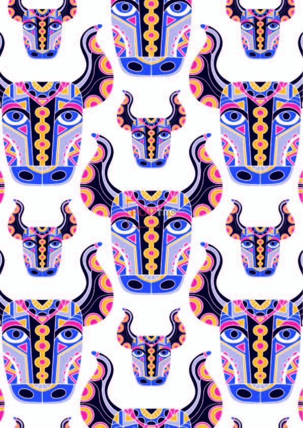 民族风图案动物牛印花服装纺织数码印花花型素材-POP花型网