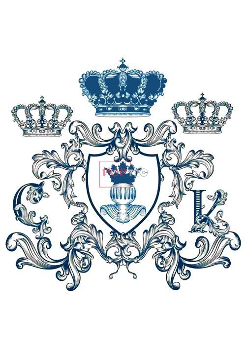 几何皇冠复古花纹印花图案服装裁片T恤卫衣烫图印花花型素材-POP花型网