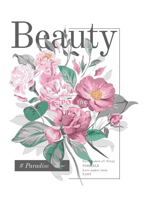 植物玫瑰花字母印花服装裁片T恤卫衣烫图印花花型素材-POP花型网
