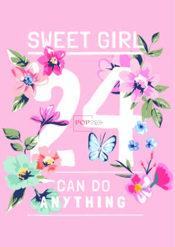 植物花朵字母蝴蝶印花图案服装裁片T恤卫衣烫图印花花型素材-POP花型网