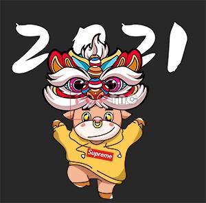 国潮舞狮卡通牛印花图案服装裁片T恤卫衣烫图印花花型素材-POP花型网