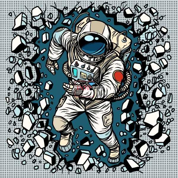 碎石太空人印花图案服装裁片T恤卫衣烫图印花花型素材-POP花型网