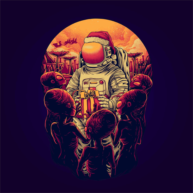 卡通太空外星人印花图案服装裁片T恤卫衣烫图印花花型素材-POP花型网