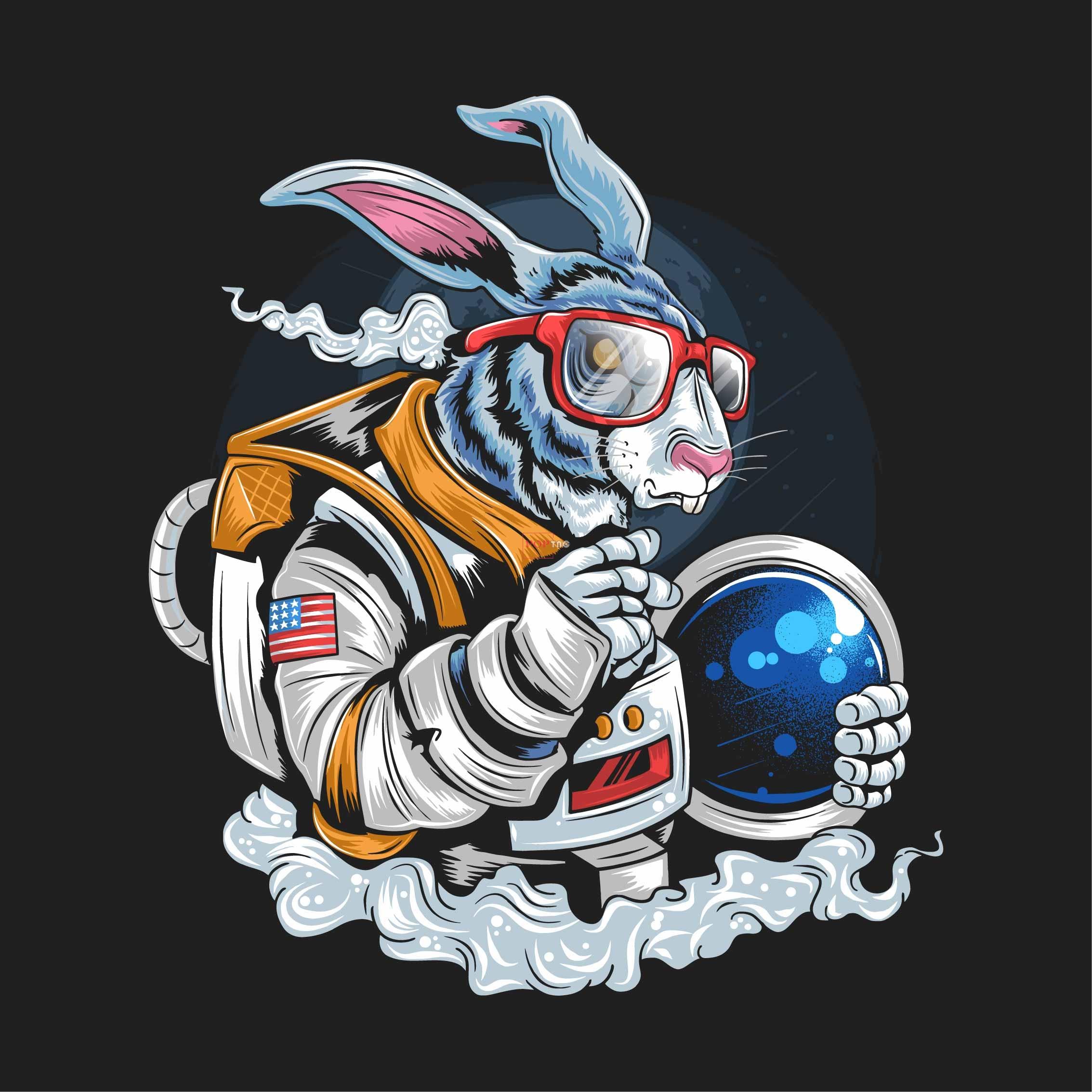 太空人兔子印花图案服装裁片T恤卫衣烫图印花花型素材-POP花型网