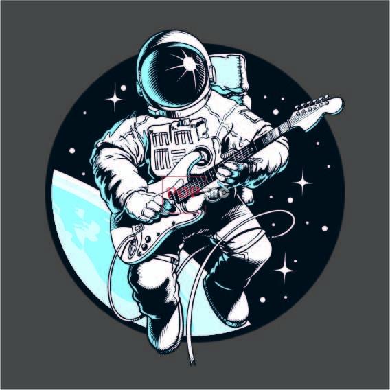 贝斯手太空人印花图案服装裁片T恤卫衣烫图印花花型素材-POP花型网