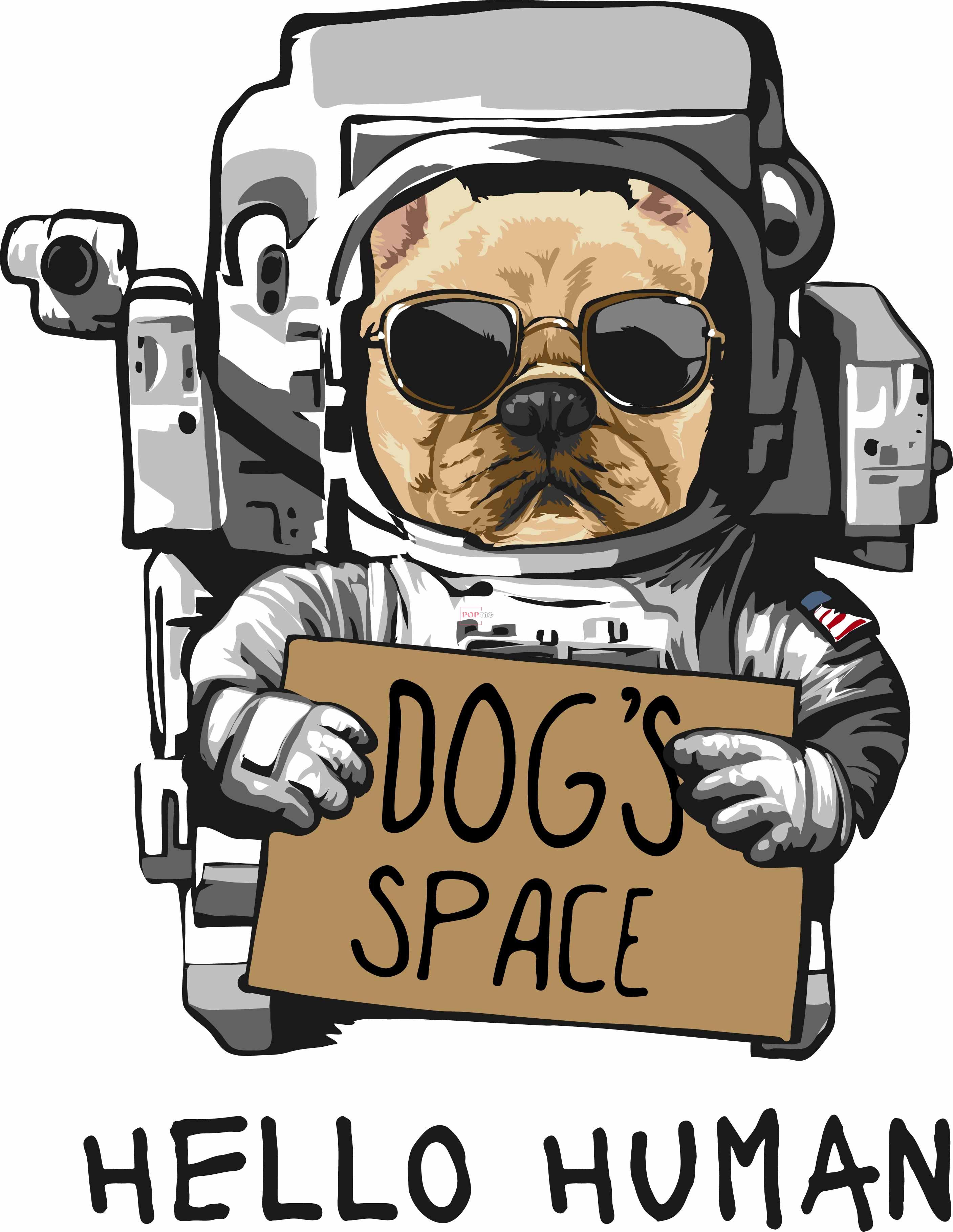 太空人小狗字母印花图案服装裁片T恤卫衣烫图印花花型素材-POP花型网