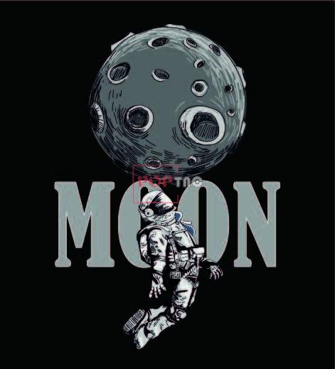 太空人字母月球印花图案服装裁片T恤卫衣烫图印花花型素材-POP花型网