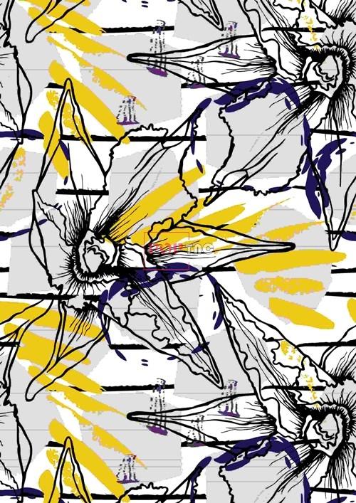 植物叶子拼接印花图案服装纺织数码印花花型素材-POP花型网