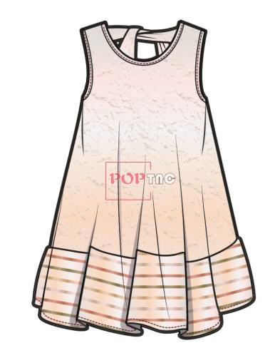 儿童连衣裙款式图AI矢量图服装设计素材-POP花型网