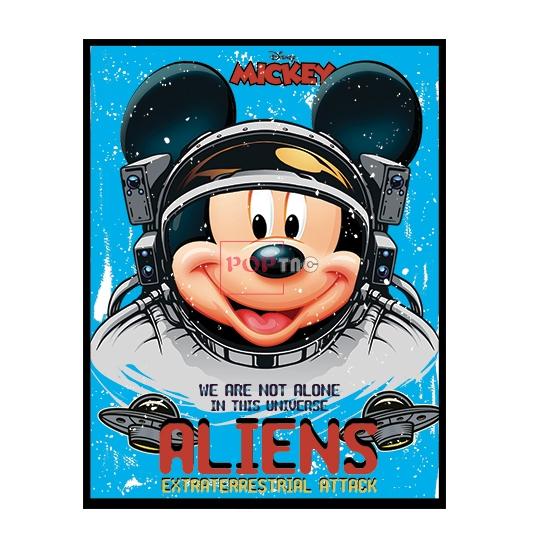 卡通太空人米老鼠字母印花图案服装裁片T恤卫衣烫图印花花型素材-POP花型网