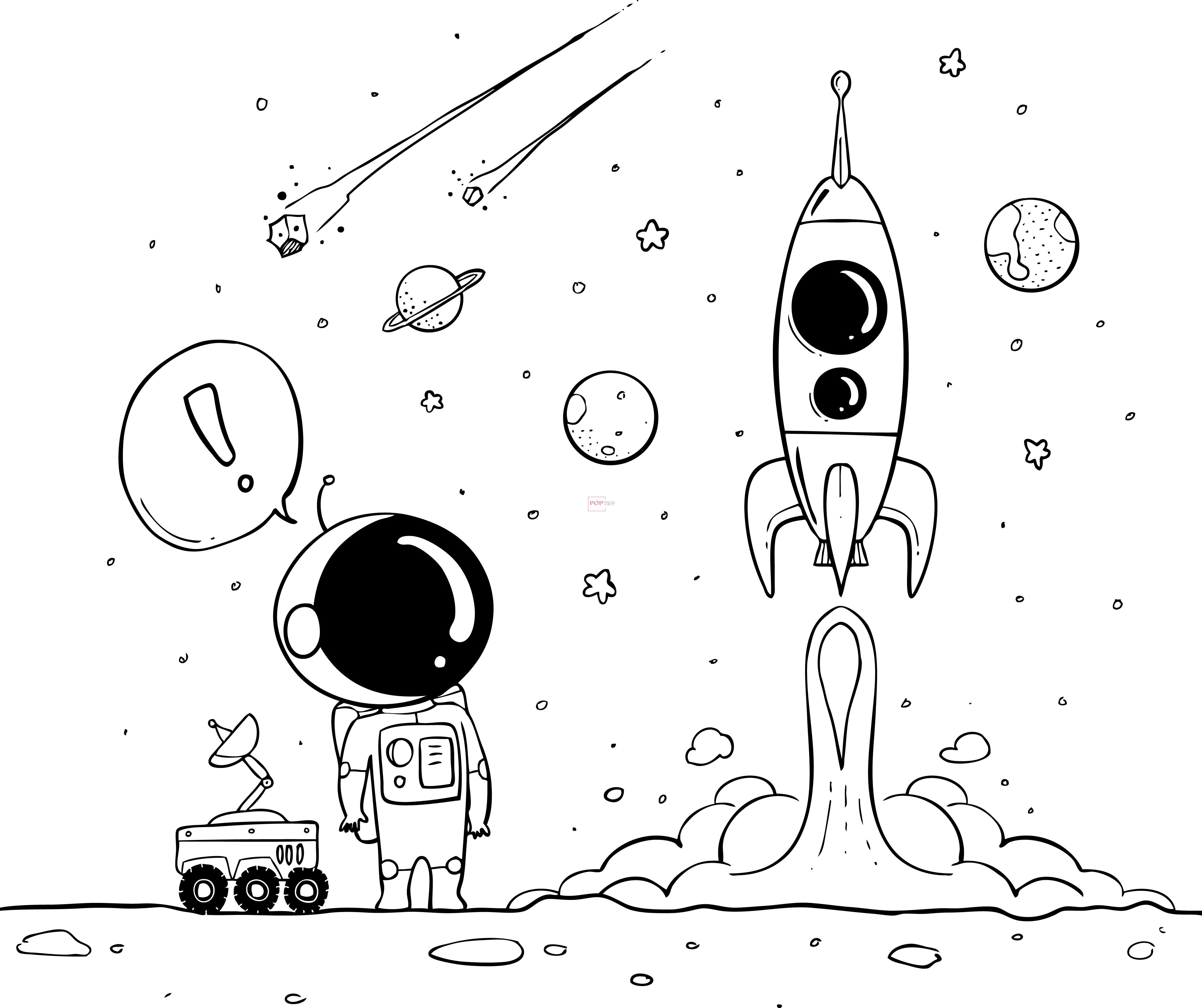 卡通太空人字母印花图案服装裁片T恤卫衣烫图印花花型素材-POP花型网