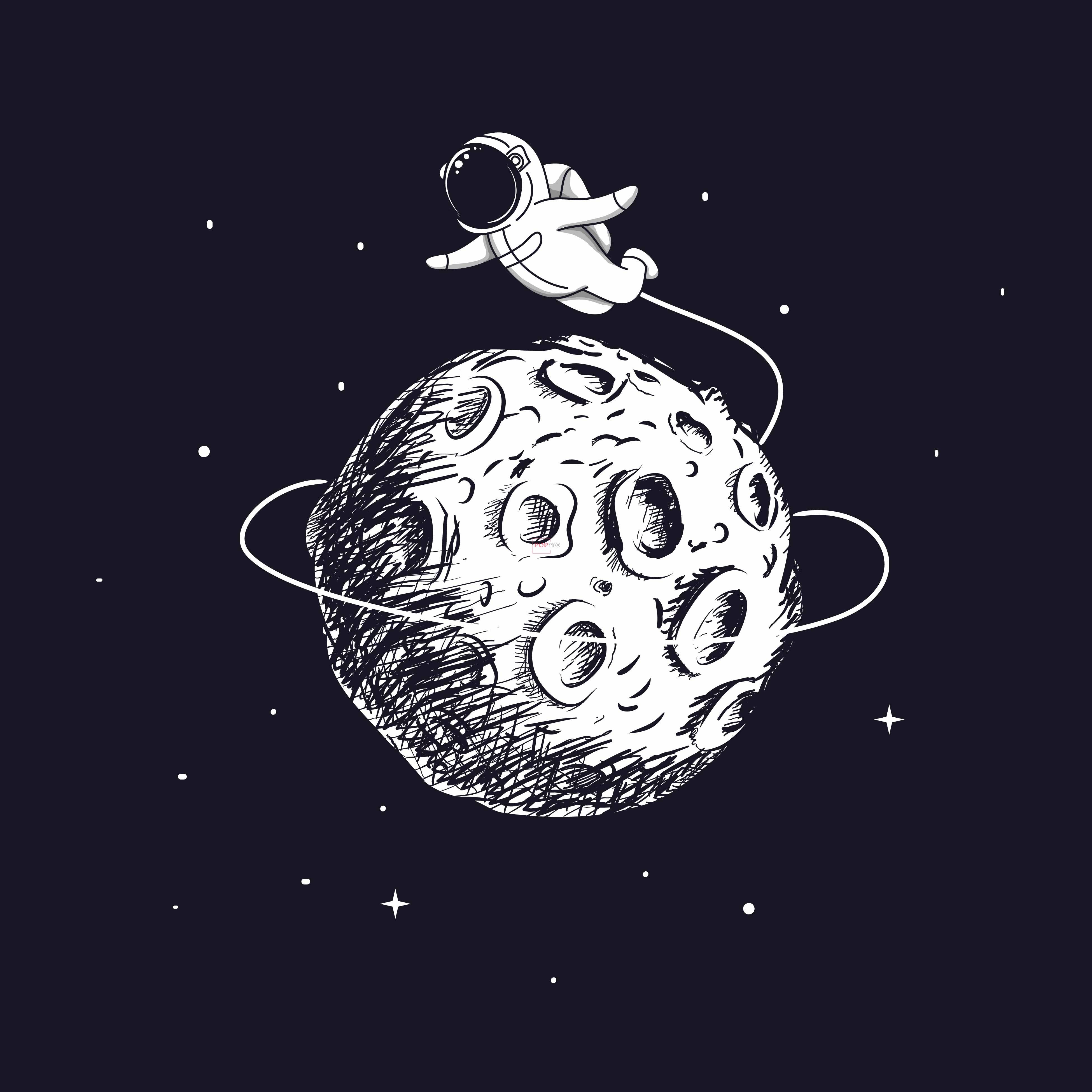 卡通太空人月球印花图案服装裁片T恤卫衣烫图印花花型素材-POP花型网