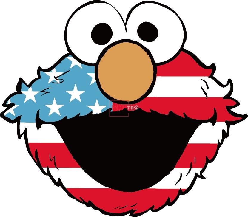 卡通动漫芝麻街美国国旗印花图案服装裁片T恤卫衣烫图印花花型素材-POP花型网