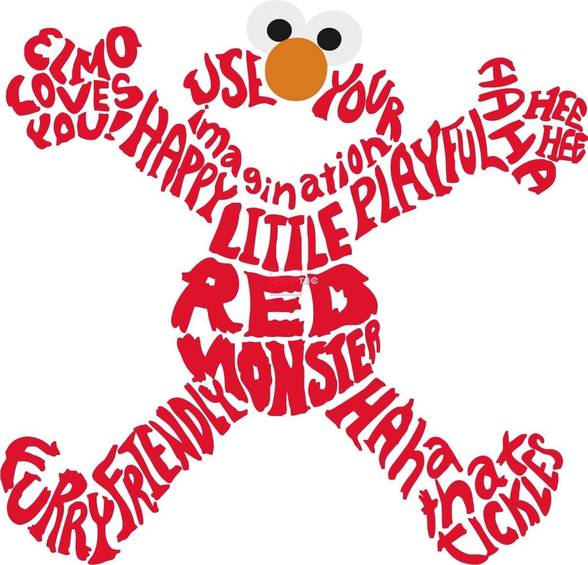 卡通动漫芝麻街字母印花图案服装裁片T恤卫衣烫图印花花型素材-POP花型网