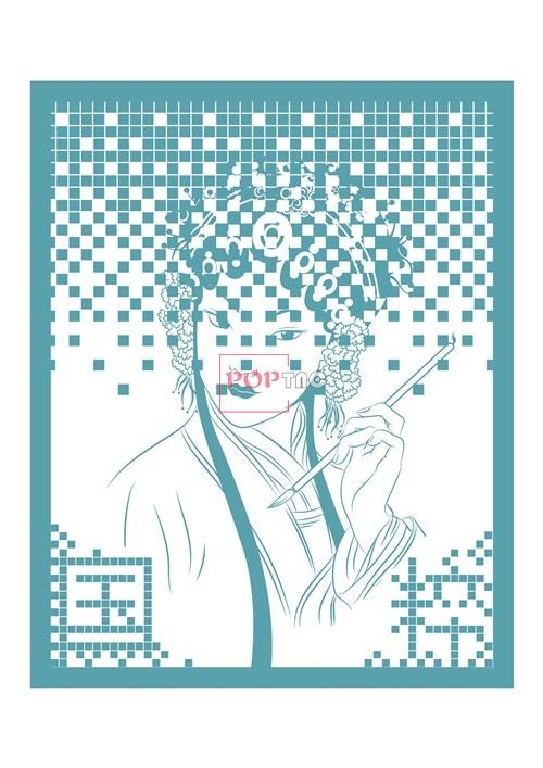 几何图案国粹京剧印花图案服装裁片T恤卫衣烫图印花花型素材-POP花型网