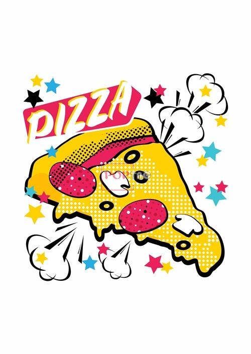 卡通图案PIZZA星星印花服装裁片T恤卫衣烫图印花花型素材-POP花型网