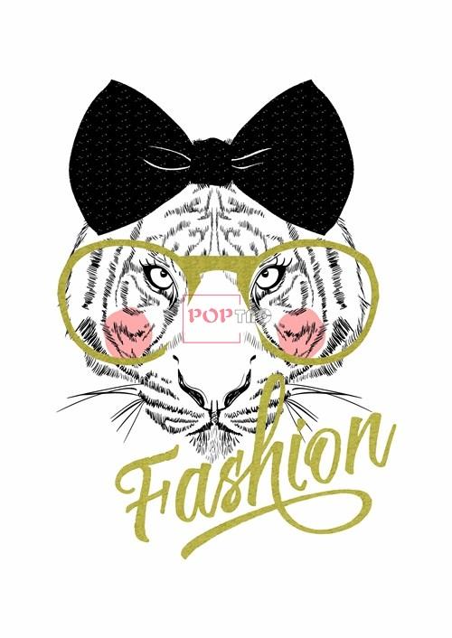 卡通动物老虎蝴蝶结字母印花图案服装裁片T恤卫衣烫图印花花型素材-POP花型网