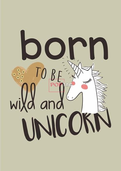 卡通动物独角兽字母爱心印花图案服装裁片T恤卫衣烫图印花花型素材-POP花型网