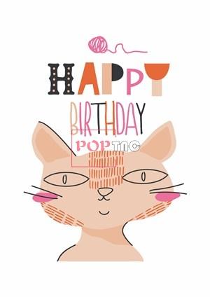 卡通动物猫咪字母印花图案服装裁片T恤卫衣烫图印花花型素材-POP花型网