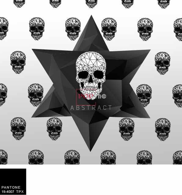几何图案线条骷髅头印花服装裁片T恤卫衣烫图印花花型素材-POP花型网