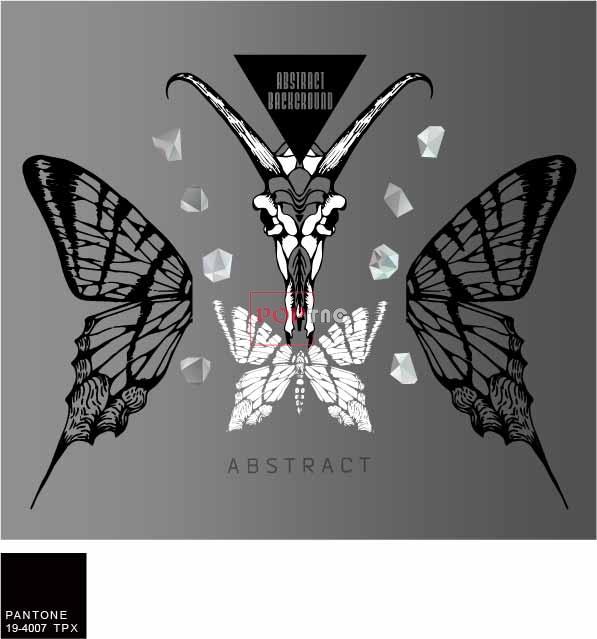 几何图案蝴蝶字母印花服装裁片T恤卫衣烫图印花花型素材-POP花型网