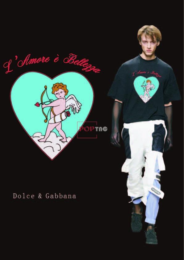 卡通丘比特爱心字母印花服装裁片T恤卫衣烫图印花花型素材-POP花型网