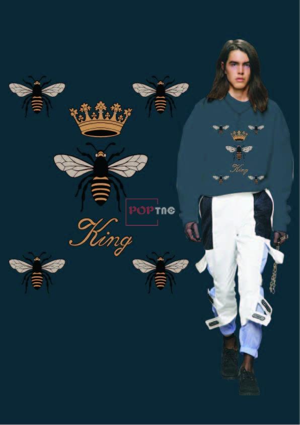 蜜蜂皇冠字母印花图案服装裁片T恤卫衣烫图印花花型素材-POP花型网