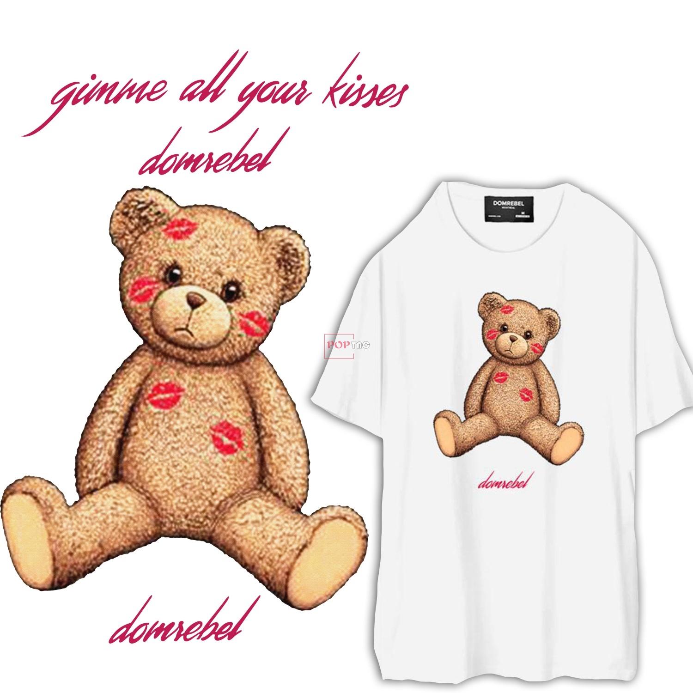 卡通潮牌熊字母口红印花图案服装裁片T恤烫图印花花型素材-POP花型网