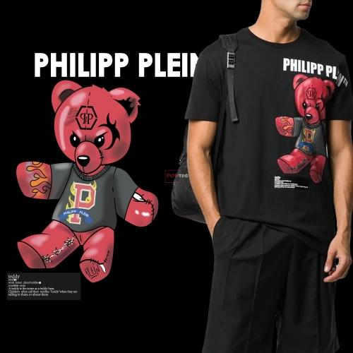卡通潮牌熊字母印花图案服装裁片T恤卫衣烫图印花花型素材-POP花型网
